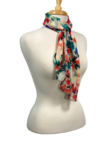 Coral And Teal Watercolor Floral Scarf
