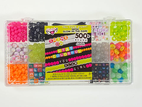 Neon Glow-in-the-Dark Bead Bracelet Making Set