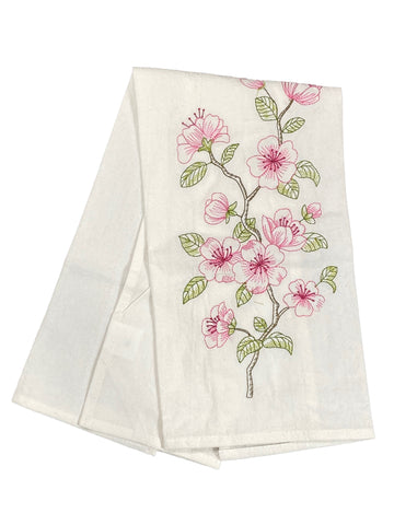Floursack Embroidered Dishtowel Cherry Blossoms
