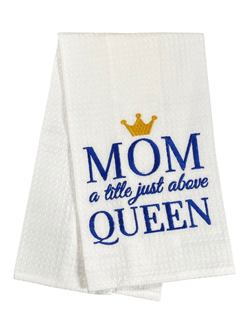 Waffle Weave Embroidered Dishtowel Mom A Little Above Queen