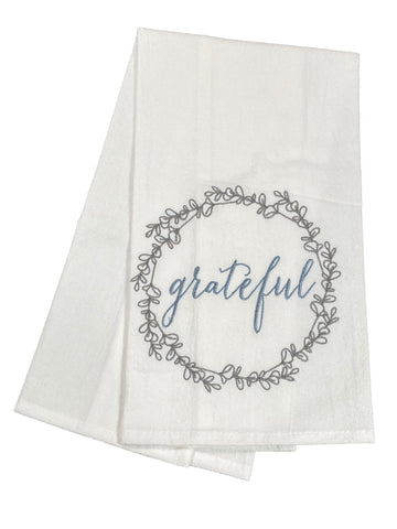 Floursack Embroidered Dishtowel Grateful Wreath