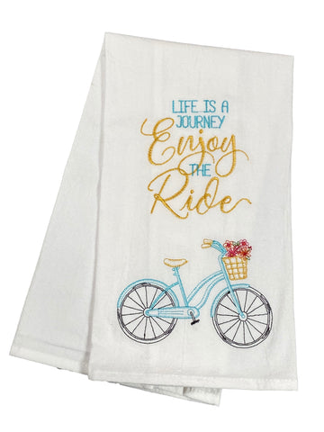 Floursack Embroidered Dishtowel Life Is A Journey Enjoy The Ride