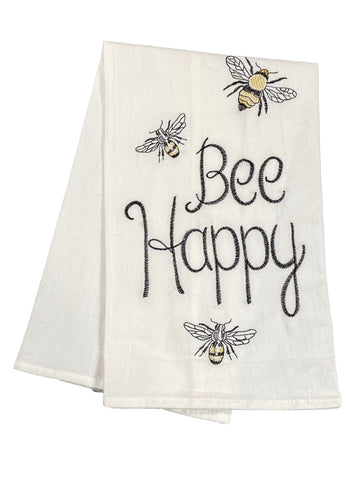Floursack Embroidered Dishtowel Bee Happy