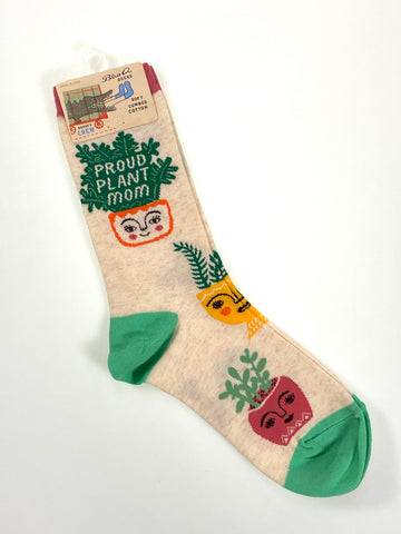 Blue Q Womens Crew Sock Proud Plant Mom