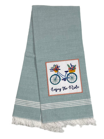 Embellished Aplique Fringe Dishtowel Enjoy The Ride