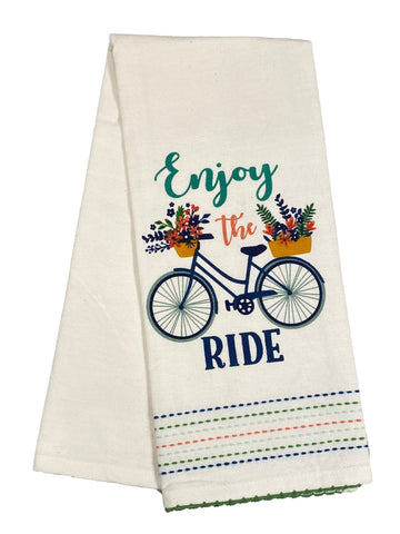 Embellished Dishtowel Enjoy The Ride