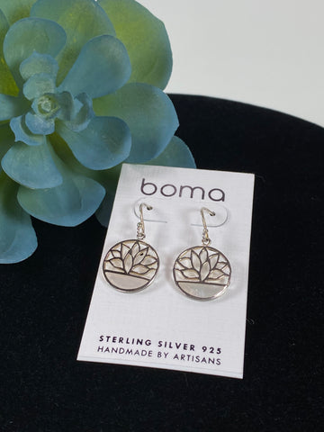 Boma Earring Open Circle With Lotus And Mother Of Pearl Inset