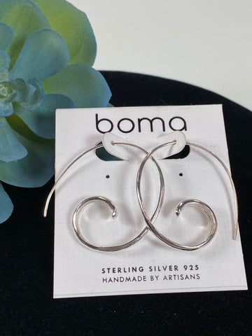 Boma Sterling Silver Large Coil Pull Through Hoop