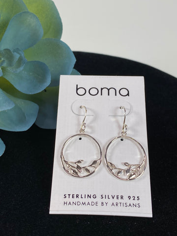 Boma Sterling Silver Earring Open Circle With Branch