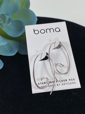 Boma Sterling Silver Earring Oval Spiral Pull Through Hoop