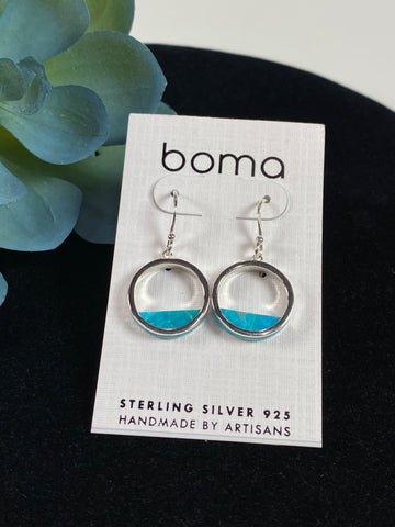 Boma Sterling Silver Earring Open Circle With Turquoise Fill