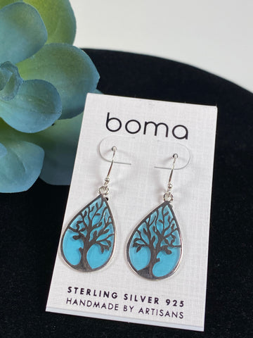 Boma Earring Sterling Silver Tree On Translucent Blue