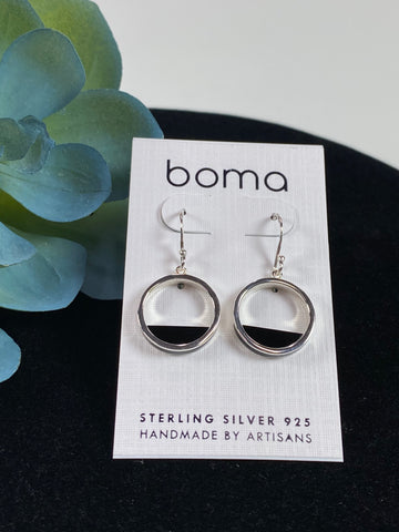 Boma Sterling Silver Earring Open Circle With Onyx Fill