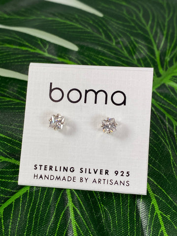 Boma Sterling Silver Post Earring Square CZ