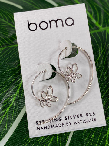 Boma Sterling Silver Branch Pull Through Hoop