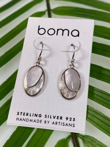 Boma Sterling Silver Earring Mother Of Pearl Mosaic Oval