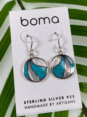 Boma Sterling Silver Earring Circle Turquoise And Mother Of Pearl