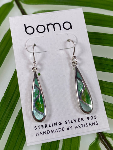 Boma Sterling Silver Earring Long Teardrop Green Mosaic