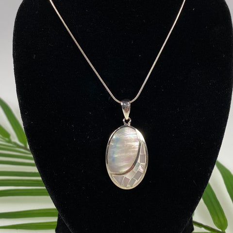 Boma Sterling Silver Necklace Mother Of Pearl Mosaic Oval