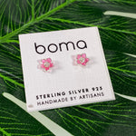 Boma Sterling Silver Post Earring Translucent Pink Flower