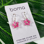 Boma Sterling Silver Earring Translucent Pink Flower