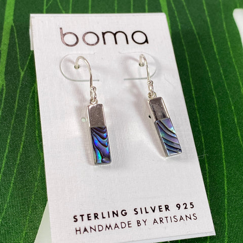 Boma Sterling Silver Earring Long Abalone Rectangle