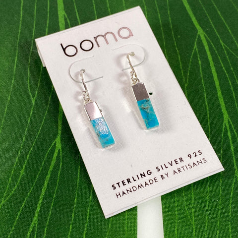 Boma Sterling Silver Earring Long Turquoise Rectangle