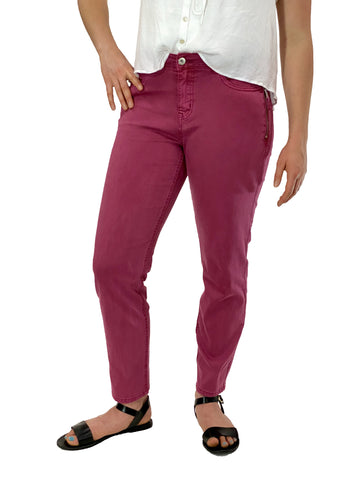 Ethyl Raspberry Pant With Hip Pocket Zipper Detail