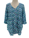 Ethyl 3/4 Sleeve Pleat Front Shirt Mini Floral Teal