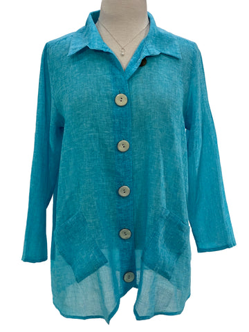 Ethyl 3/4 Sleeve Button Front Linen Shirt
