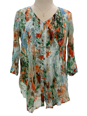 Ethyl 3/4 Sleeve Pleat Front Shirt Orange Green Watercolor