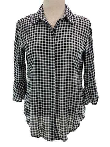 3/4 Sleeve Flair Black White Check