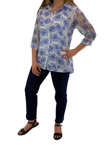 Ethyl Long Sleeve Seashell Print Shirt With Tab Back
