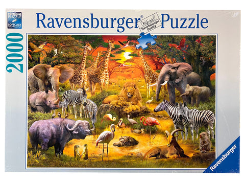 Gathering At The Waterhole 2000 Piece Puzzle