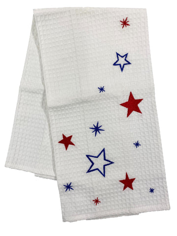 Embroidered Red, White and Blue Stars Waffle Weave Dishtowel