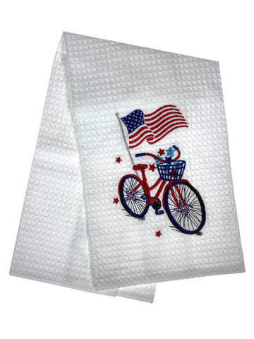 Embroidered Bike And Flag Waffle Weave Dishtowel