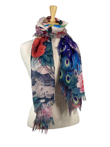 100% Cotton Scarf Floral Peacock