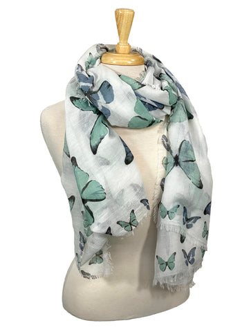 100% Cotton Scarf Mint And Blue Butterflies