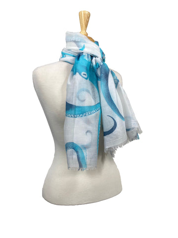 100% Cotton Scarf Blue Octopus