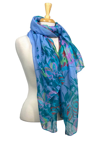 Scarf Butterflies And Grass In Blue