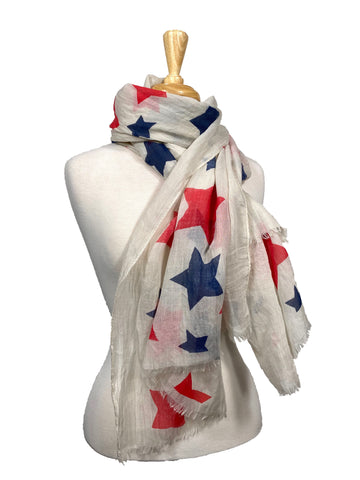Cotton Red White And Blue Stars Scarf