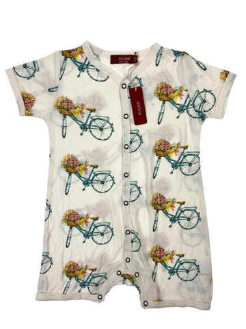 Milkbarn Short Sleeve Shortall Floral Bicycle