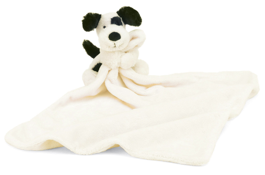 Jellycat Bashful Black and Cream Puppy Soother