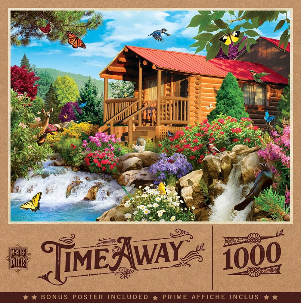 Time Away Cascading Cabin 1000 Piece Puzzle