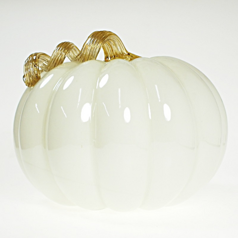 White Large Glass Pumpkin