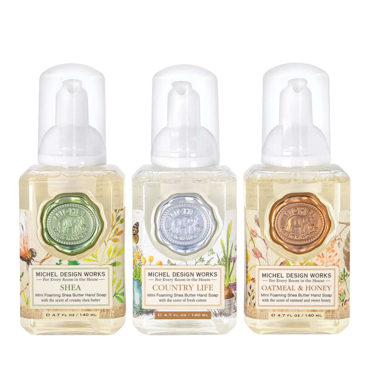 Set of 3 Foaming Hand Soaps - Shea, Country Life, Oatmeal & Honey