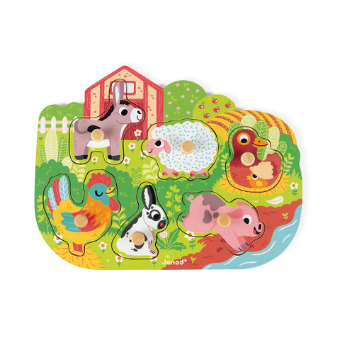 Happy Farm 6 Piece Wooden Peg Puzzle