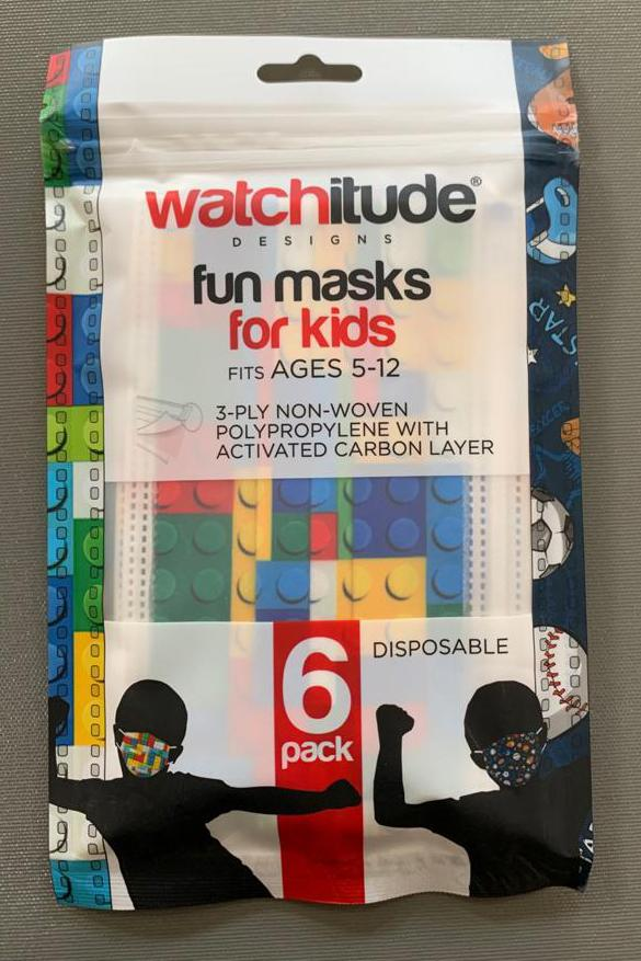 6 Pack Disposable Kids Masks - Sports & Build Up