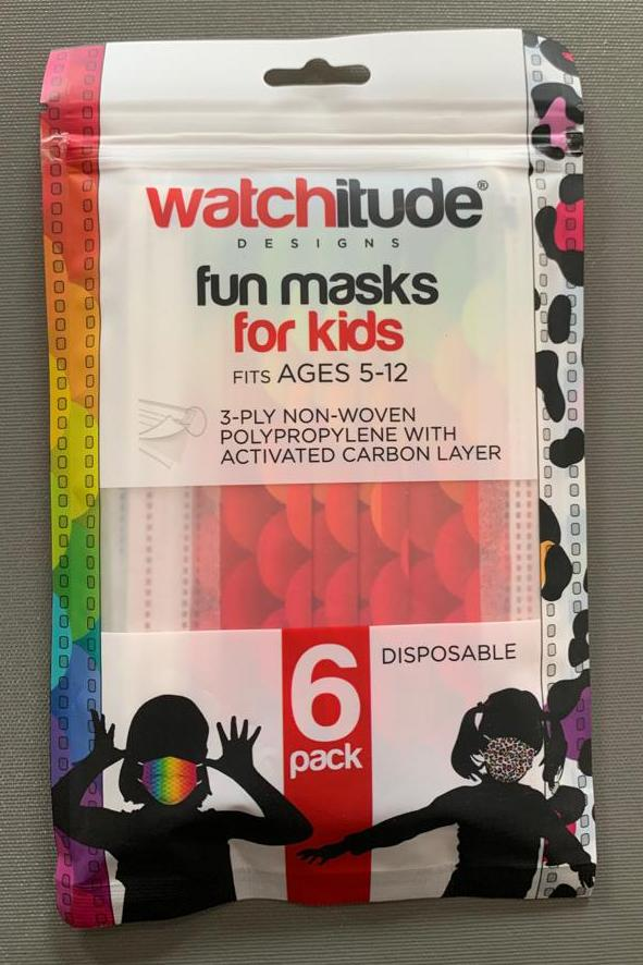 6 Pack Disposable Kids Masks - Leopard Camo & Rainbow Skin