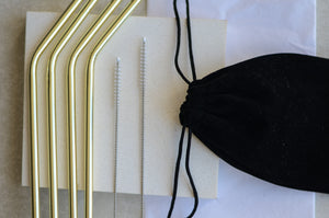 Gold Straw Pouch - Black